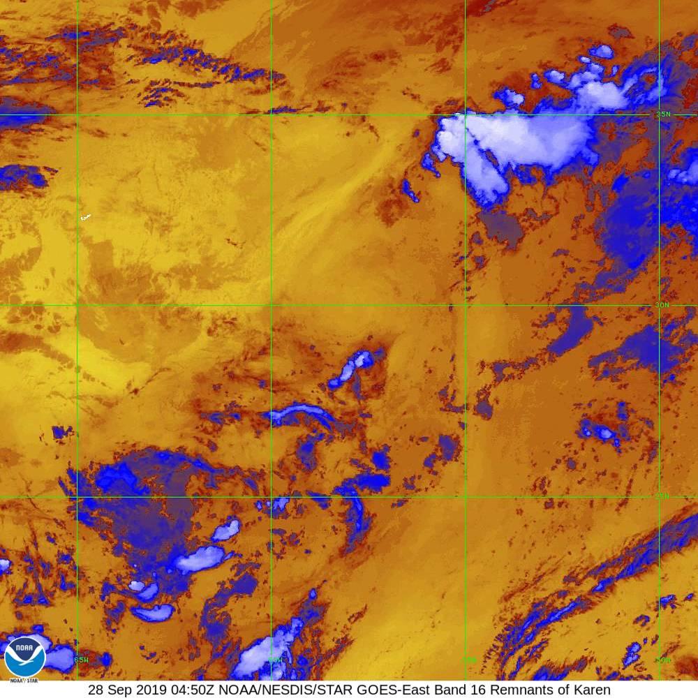 Band 16 - 13.3 µm - CO₂ Longwave - IR - 28 Sep 2019 - 0450 UTC