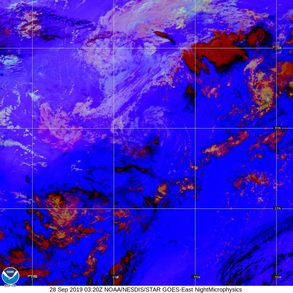 Nighttime Microphysics - RGB used to distinguish clouds from fog - 28 Sep 2019 - 0320 UTC