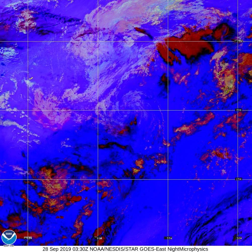 Nighttime Microphysics - RGB used to distinguish clouds from fog - 28 Sep 2019 - 0330 UTC