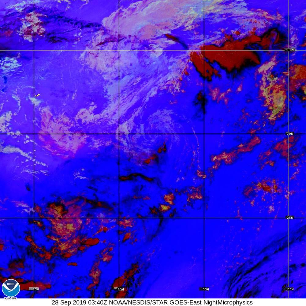 Nighttime Microphysics - RGB used to distinguish clouds from fog - 28 Sep 2019 - 0340 UTC