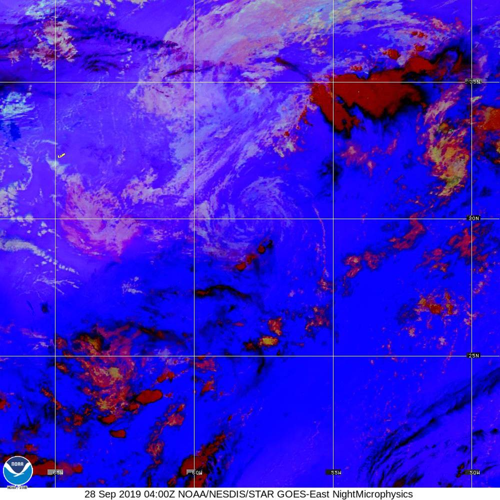 Nighttime Microphysics - RGB used to distinguish clouds from fog - 28 Sep 2019 - 0400 UTC