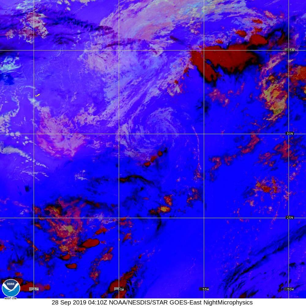 Nighttime Microphysics - RGB used to distinguish clouds from fog - 28 Sep 2019 - 0410 UTC