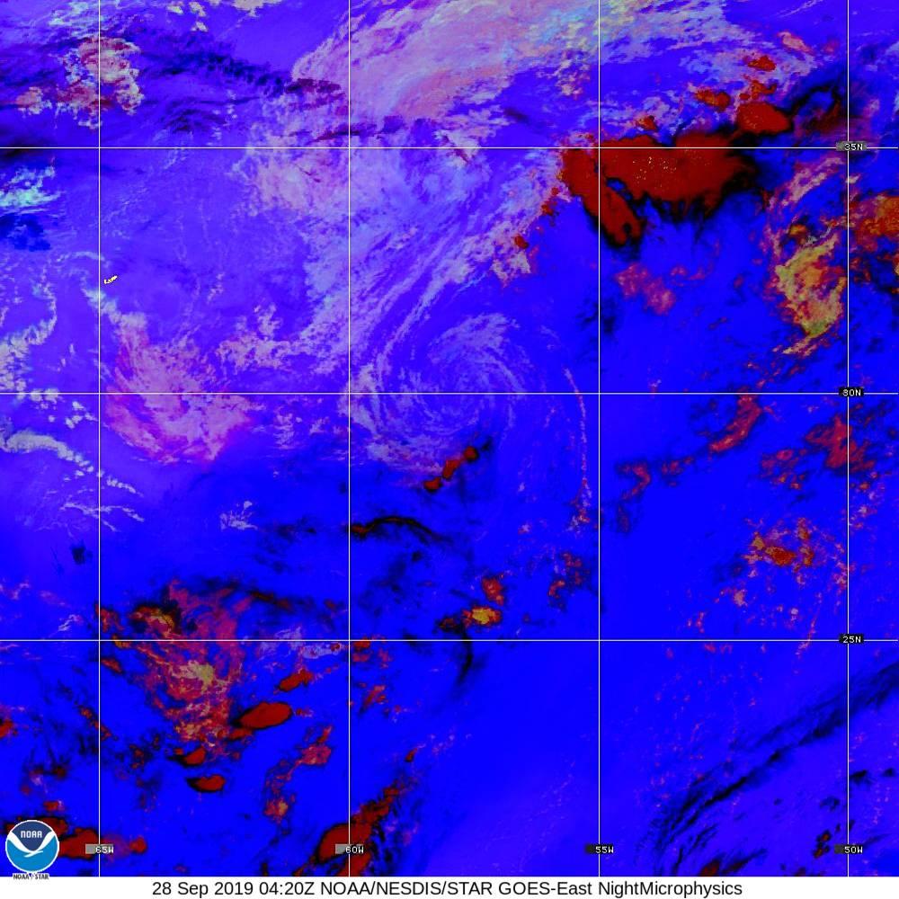 Nighttime Microphysics - RGB used to distinguish clouds from fog - 28 Sep 2019 - 0420 UTC
