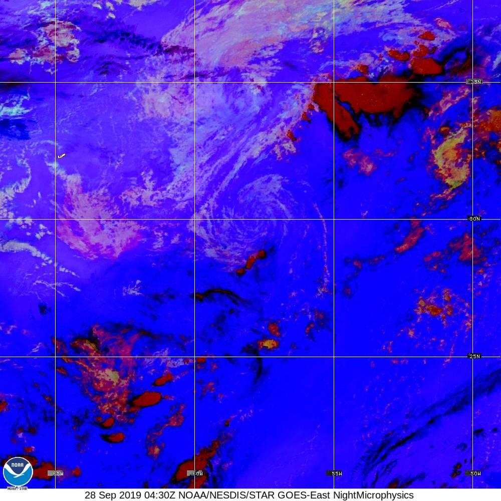Nighttime Microphysics - RGB used to distinguish clouds from fog - 28 Sep 2019 - 0430 UTC