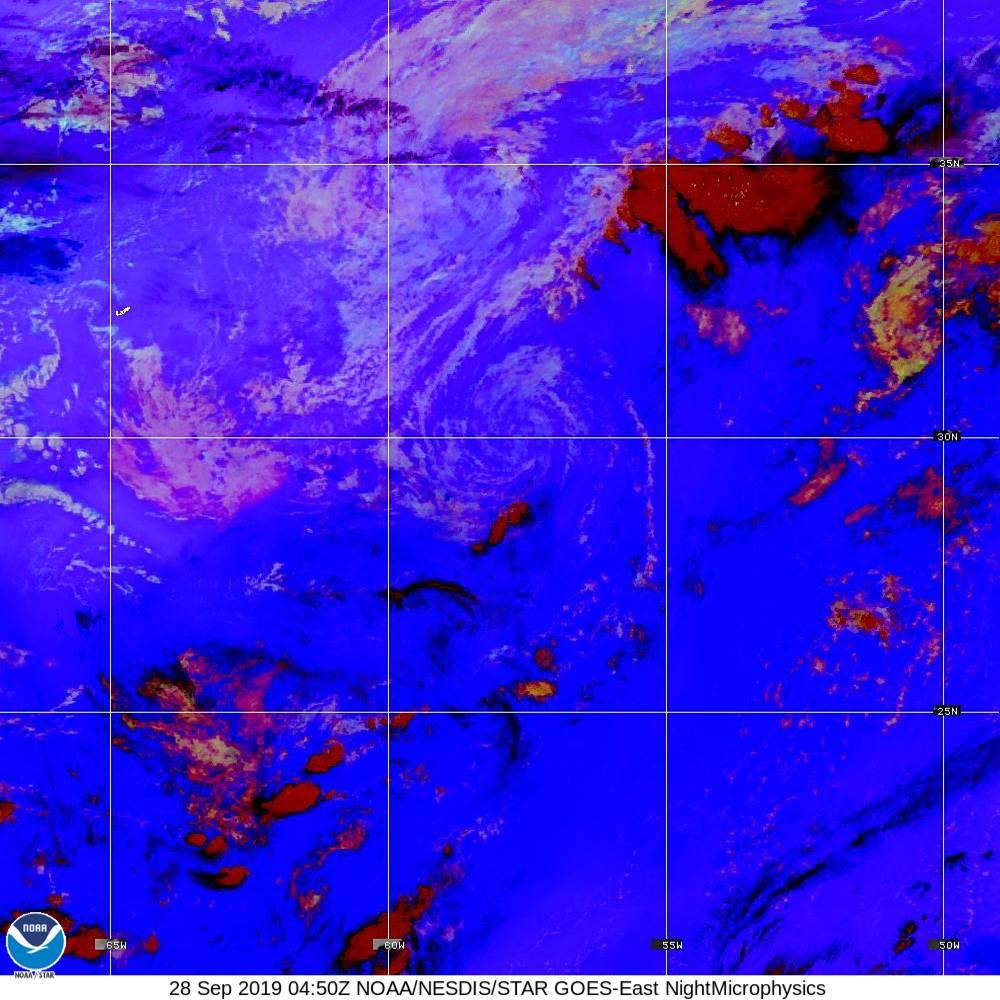 Nighttime Microphysics - RGB used to distinguish clouds from fog - 28 Sep 2019 - 0450 UTC