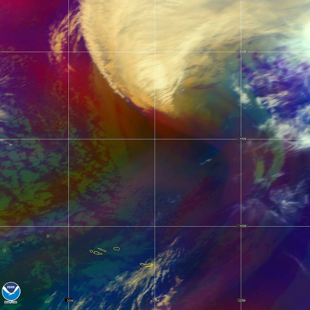 Air Mass - RGB composite based on the data from IR and WV - 02 Oct 2019 - 1910 UTC