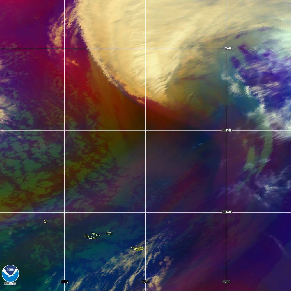 Air Mass - RGB composite based on the data from IR and WV - 02 Oct 2019 - 1930 UTC