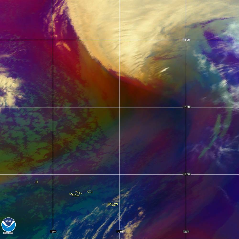 Air Mass - RGB composite based on the data from IR and WV - 02 Oct 2019 - 2010 UTC