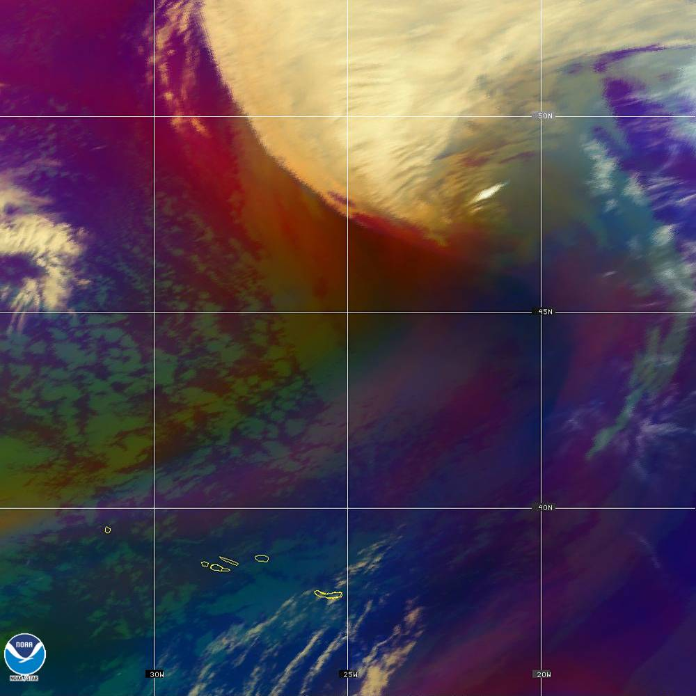 Air Mass - RGB composite based on the data from IR and WV - 02 Oct 2019 - 2030 UTC