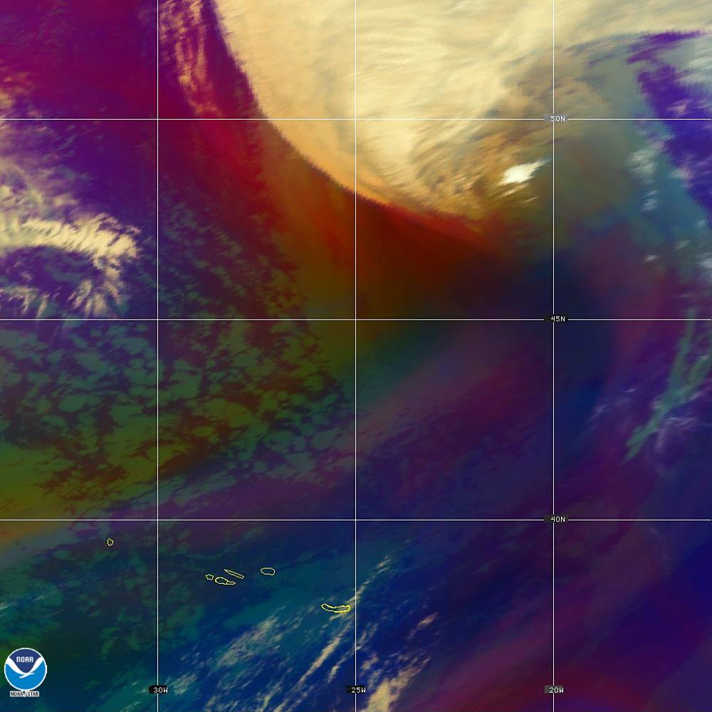 Air Mass - RGB composite based on the data from IR and WV - 02 Oct 2019 - 2110 UTC