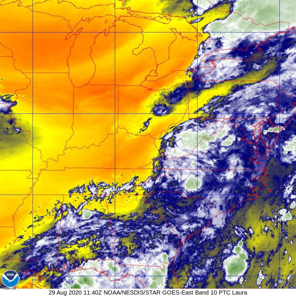 Band 10 - 7.3 µm - Lower-level Water Vapor - IR - 29 Aug 2020 - 1140 UTC