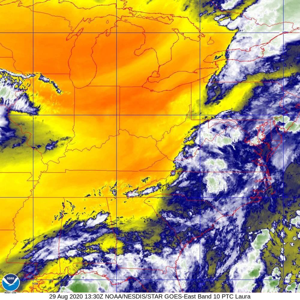 Band 10 - 7.3 µm - Lower-level Water Vapor - IR - 29 Aug 2020 - 1330 UTC