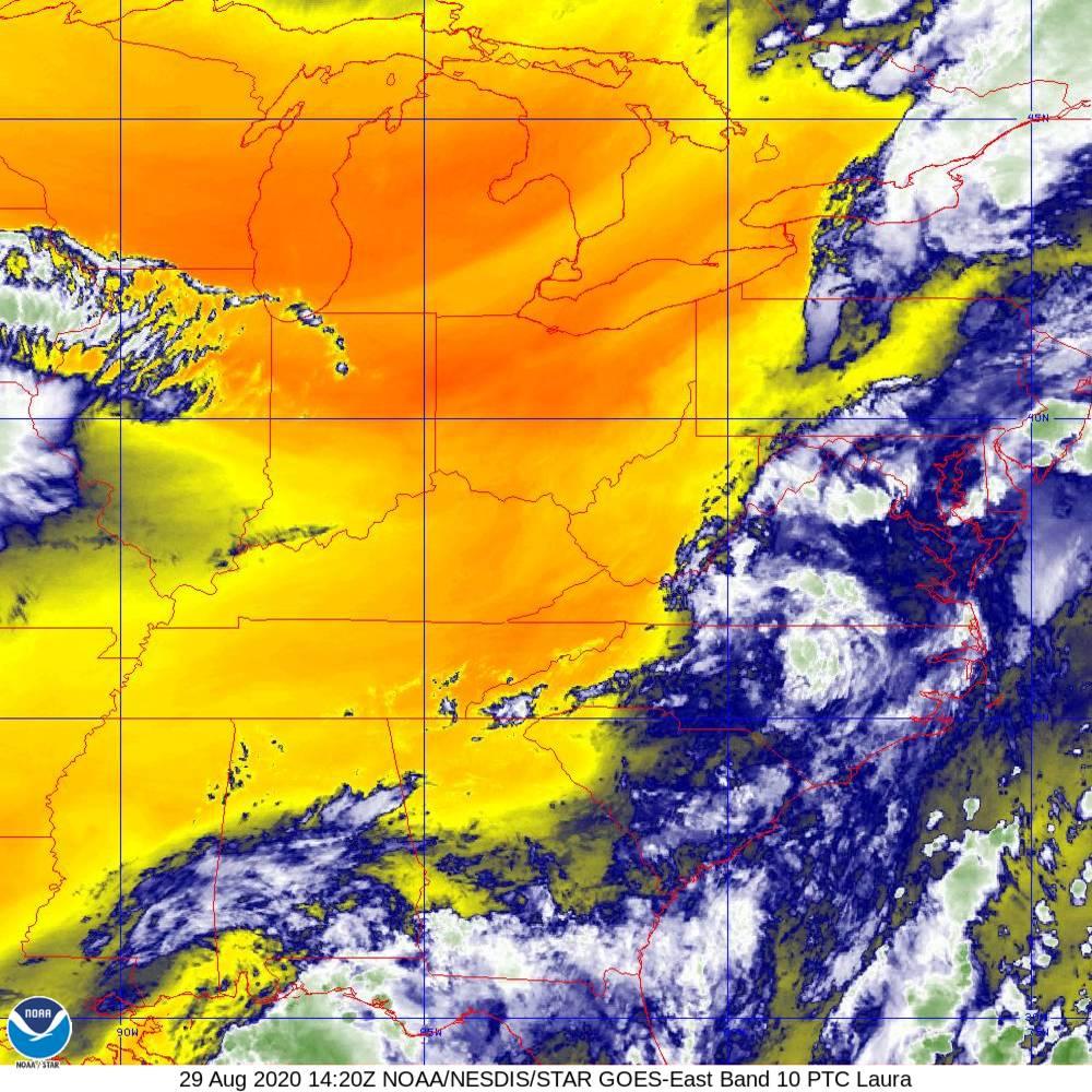 Band 10 - 7.3 µm - Lower-level Water Vapor - IR - 29 Aug 2020 - 1420 UTC