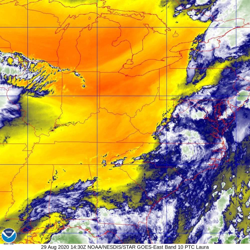 Band 10 - 7.3 µm - Lower-level Water Vapor - IR - 29 Aug 2020 - 1430 UTC