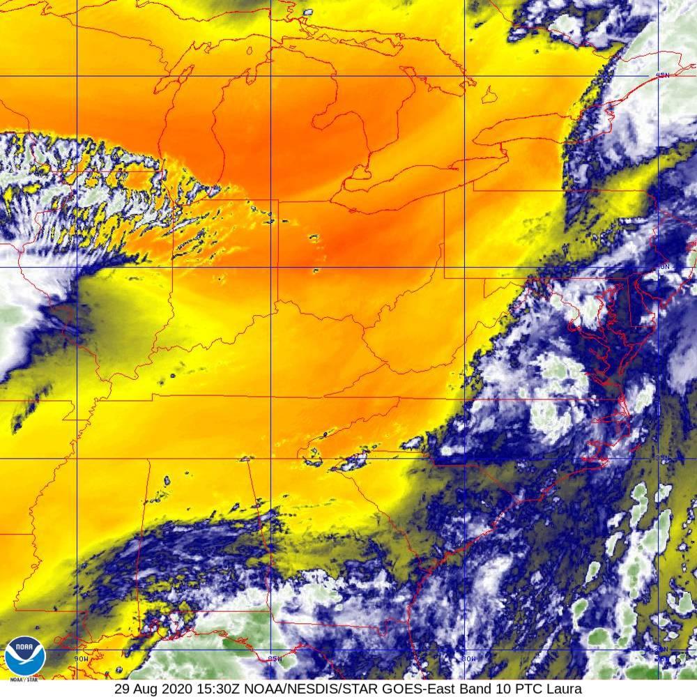 Band 10 - 7.3 µm - Lower-level Water Vapor - IR - 29 Aug 2020 - 1530 UTC