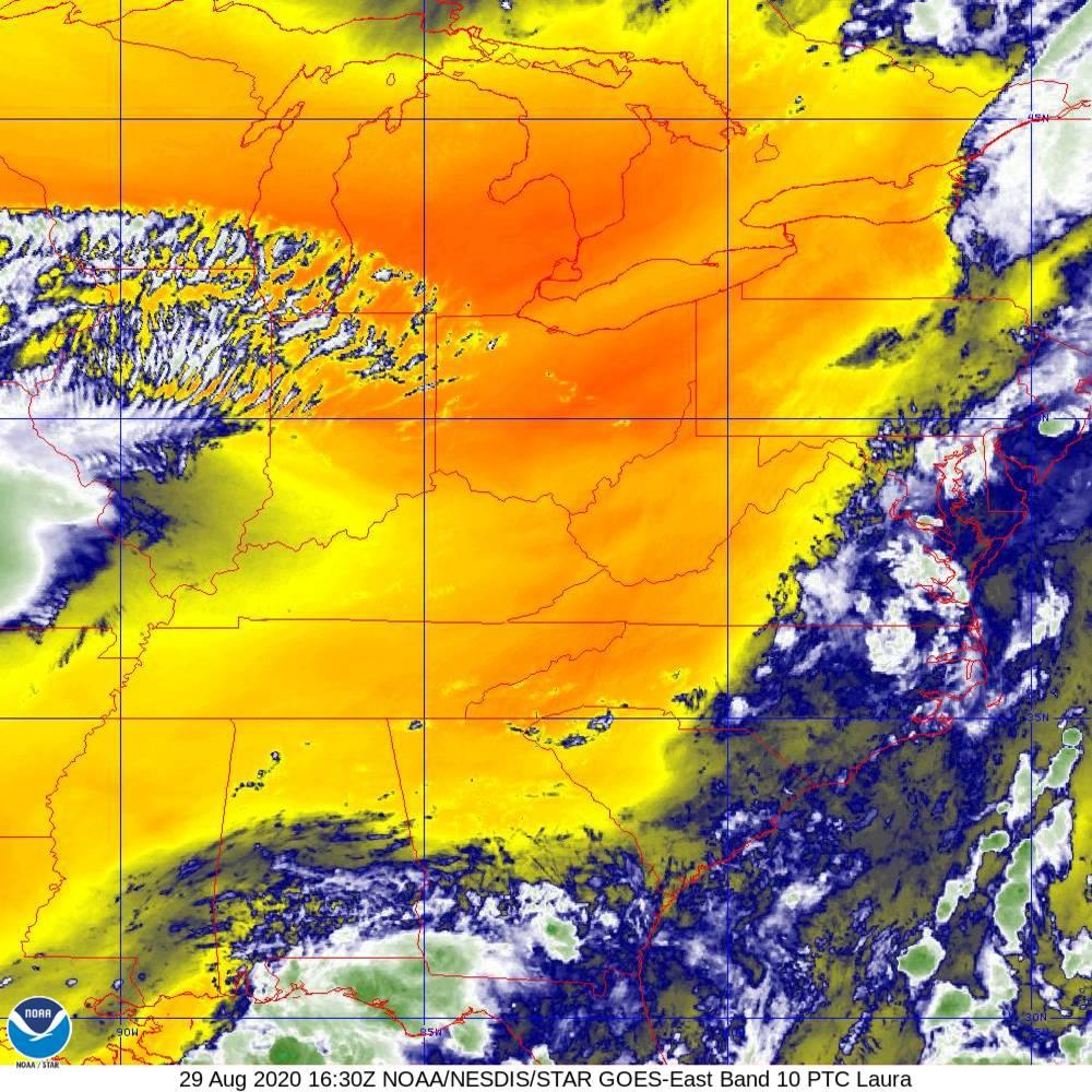 Band 10 - 7.3 µm - Lower-level Water Vapor - IR - 29 Aug 2020 - 1630 UTC