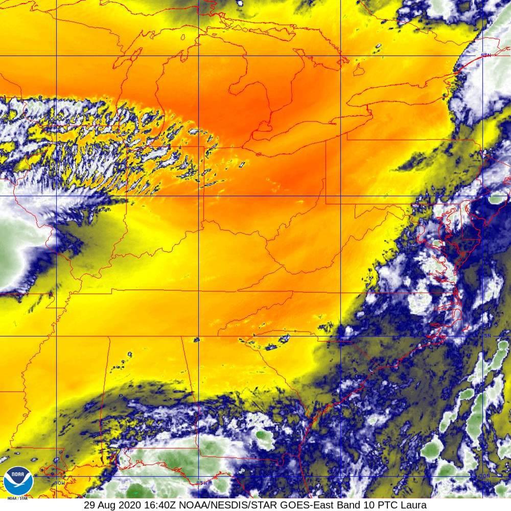 Band 10 - 7.3 µm - Lower-level Water Vapor - IR - 29 Aug 2020 - 1640 UTC