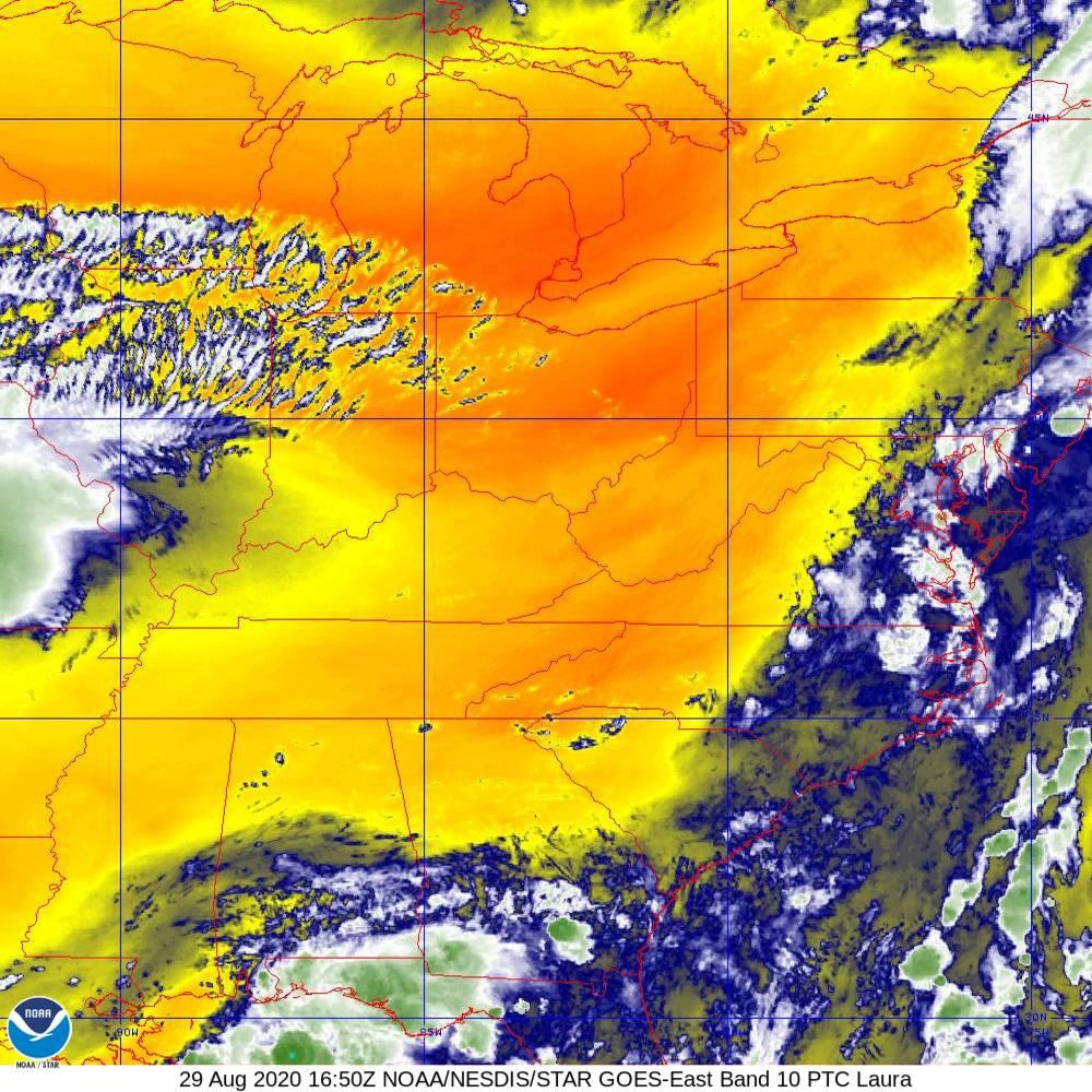 Band 10 - 7.3 µm - Lower-level Water Vapor - IR - 29 Aug 2020 - 1650 UTC