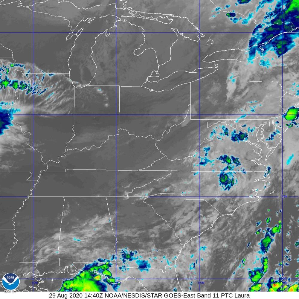 Band 11 - 8.4 µm - Cloud Top - IR - 29 Aug 2020 - 1440 UTC