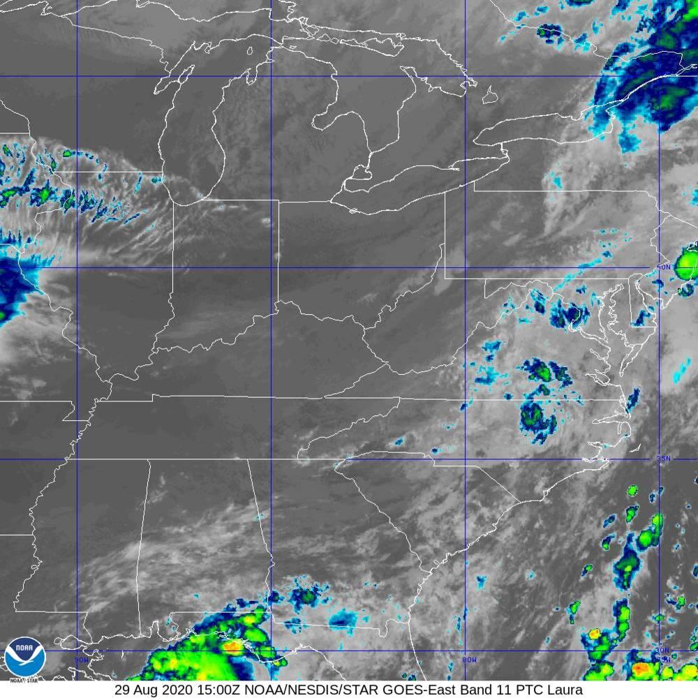 Band 11 - 8.4 µm - Cloud Top - IR - 29 Aug 2020 - 1500 UTC