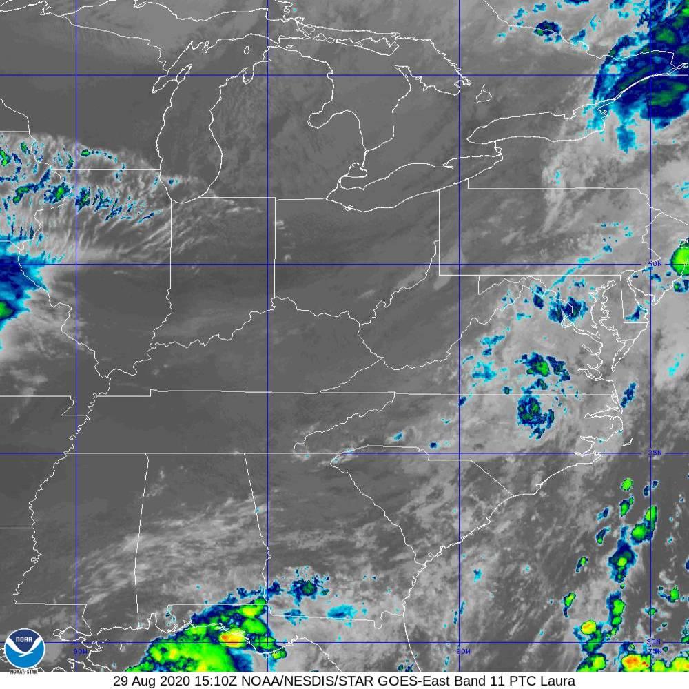 Band 11 - 8.4 µm - Cloud Top - IR - 29 Aug 2020 - 1510 UTC