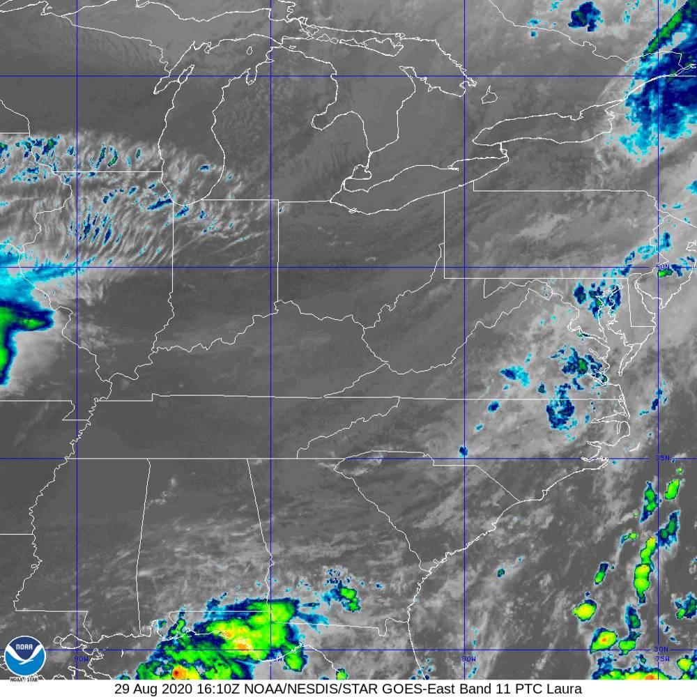 Band 11 - 8.4 µm - Cloud Top - IR - 29 Aug 2020 - 1610 UTC