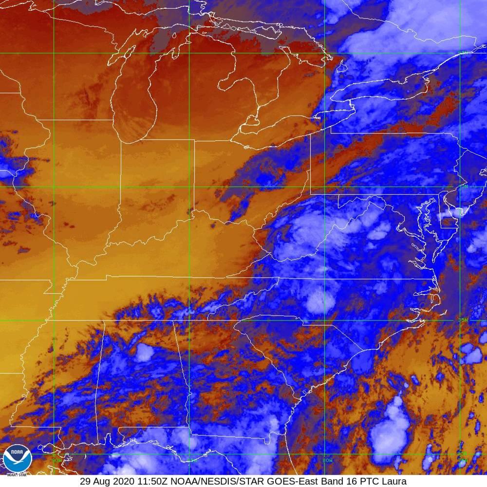 Band 16 - 13.3 µm - CO₂ Longwave - IR - 29 Aug 2020 - 1150 UTC