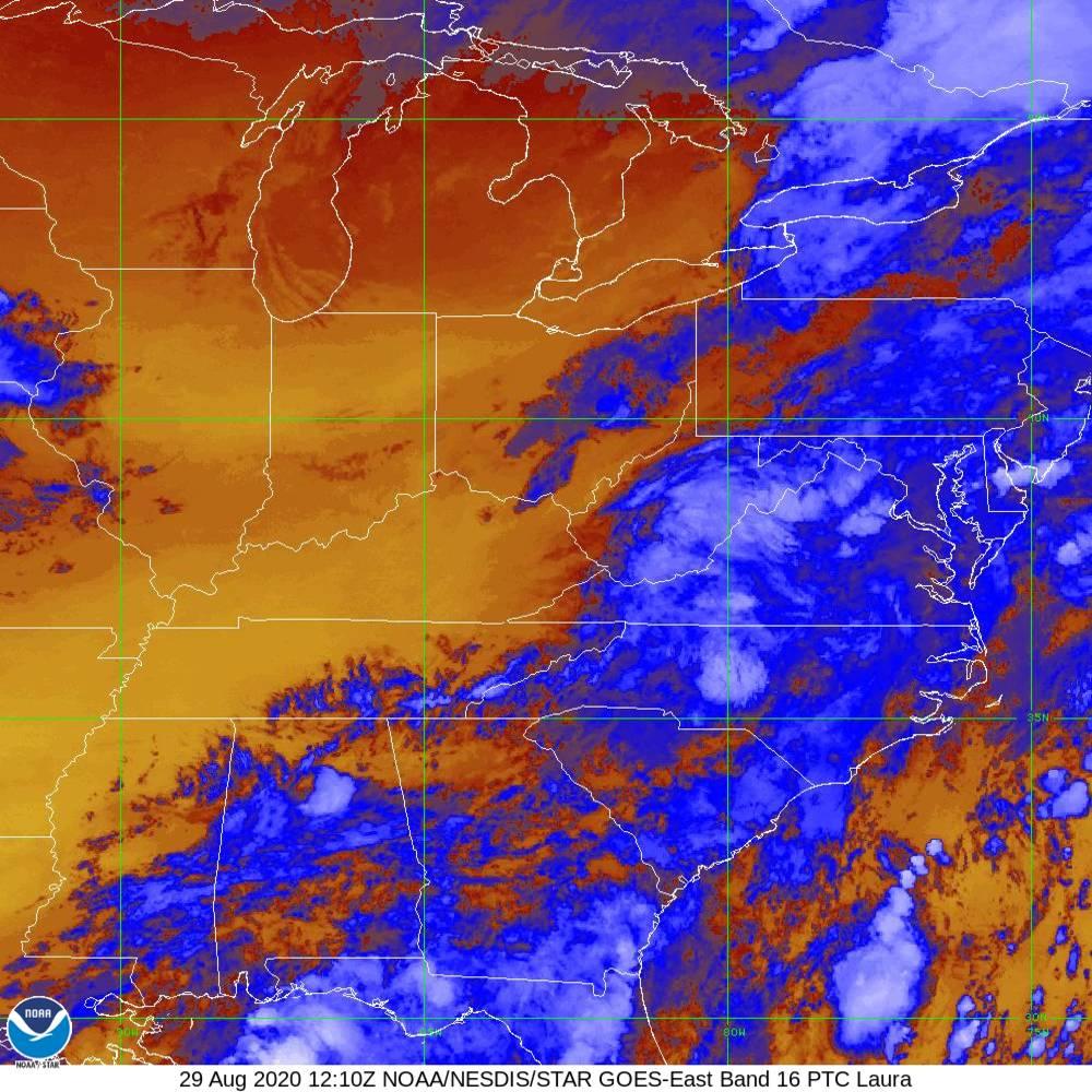 Band 16 - 13.3 µm - CO₂ Longwave - IR - 29 Aug 2020 - 1210 UTC