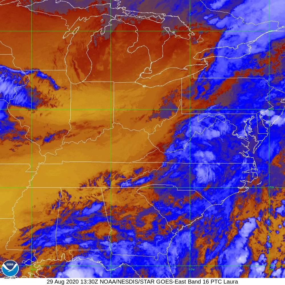 Band 16 - 13.3 µm - CO₂ Longwave - IR - 29 Aug 2020 - 1330 UTC