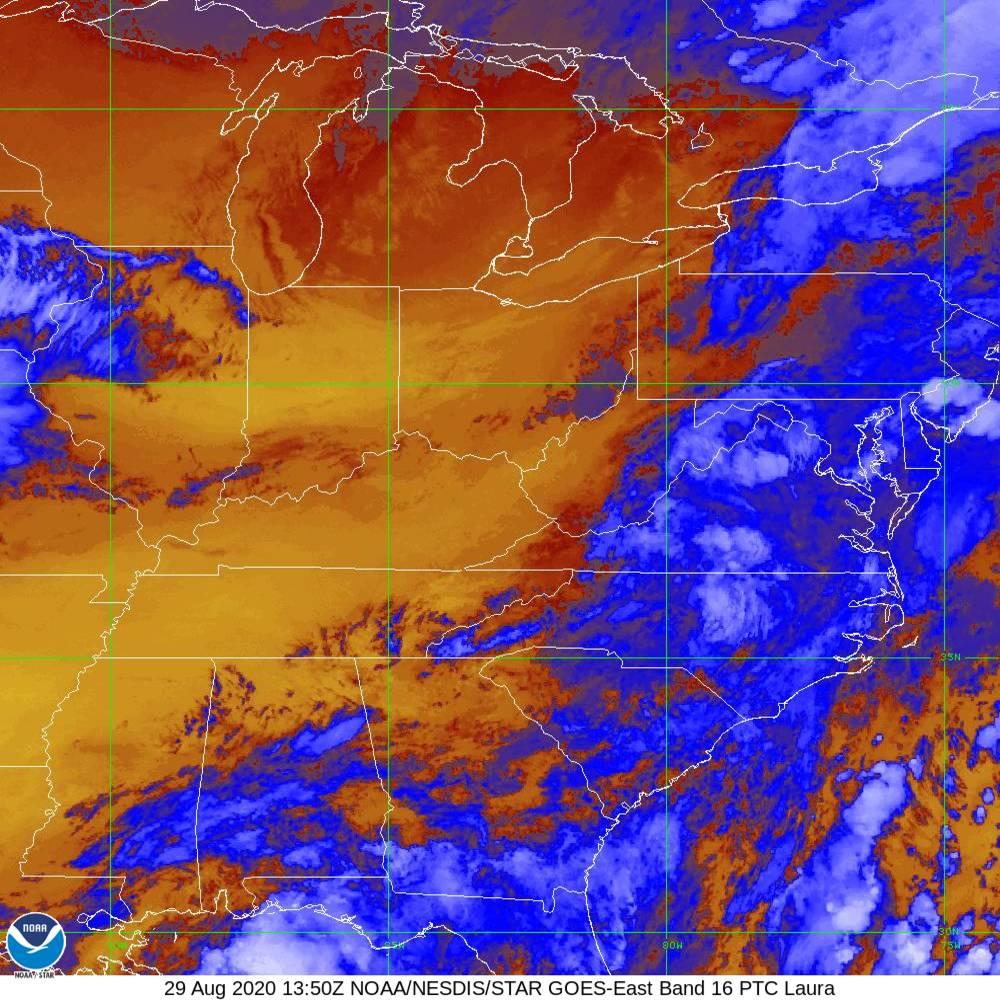 Band 16 - 13.3 µm - CO₂ Longwave - IR - 29 Aug 2020 - 1350 UTC