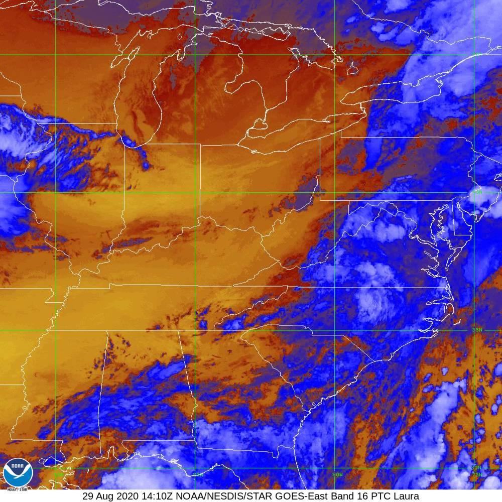 Band 16 - 13.3 µm - CO₂ Longwave - IR - 29 Aug 2020 - 1410 UTC
