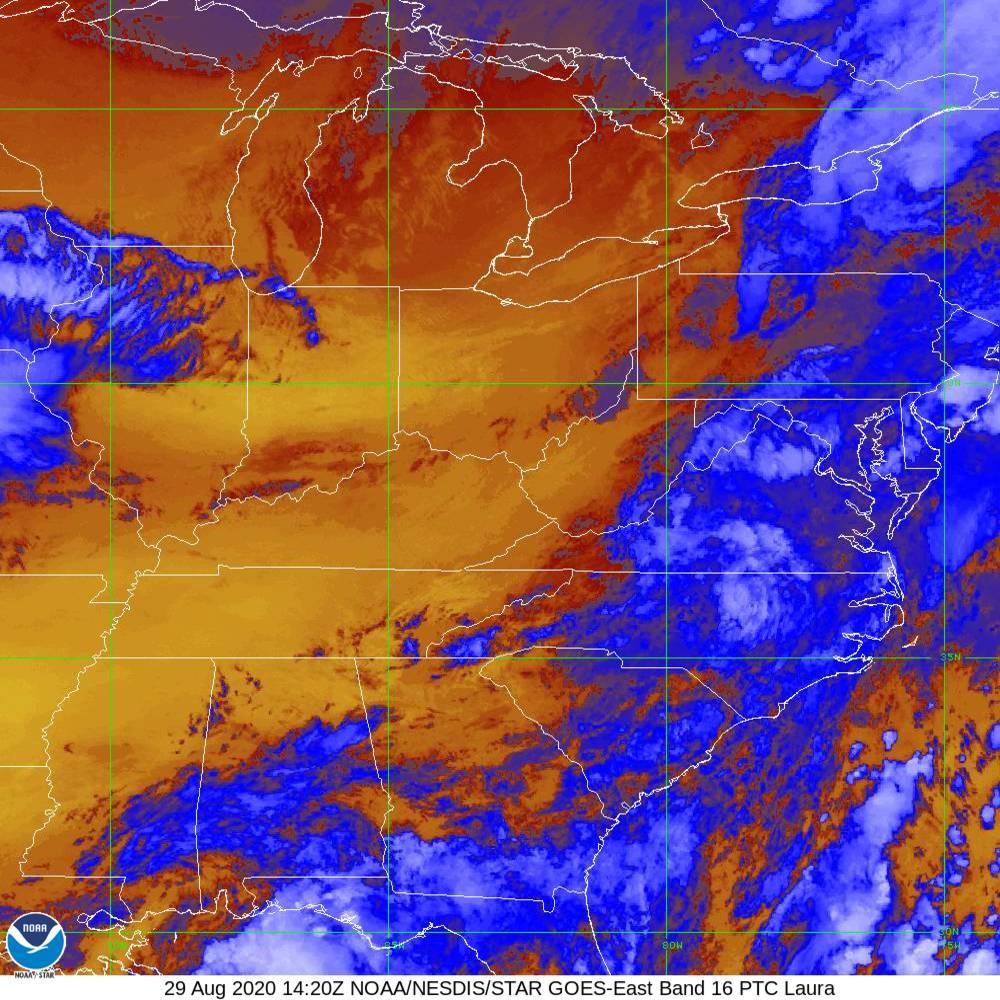 Band 16 - 13.3 µm - CO₂ Longwave - IR - 29 Aug 2020 - 1420 UTC