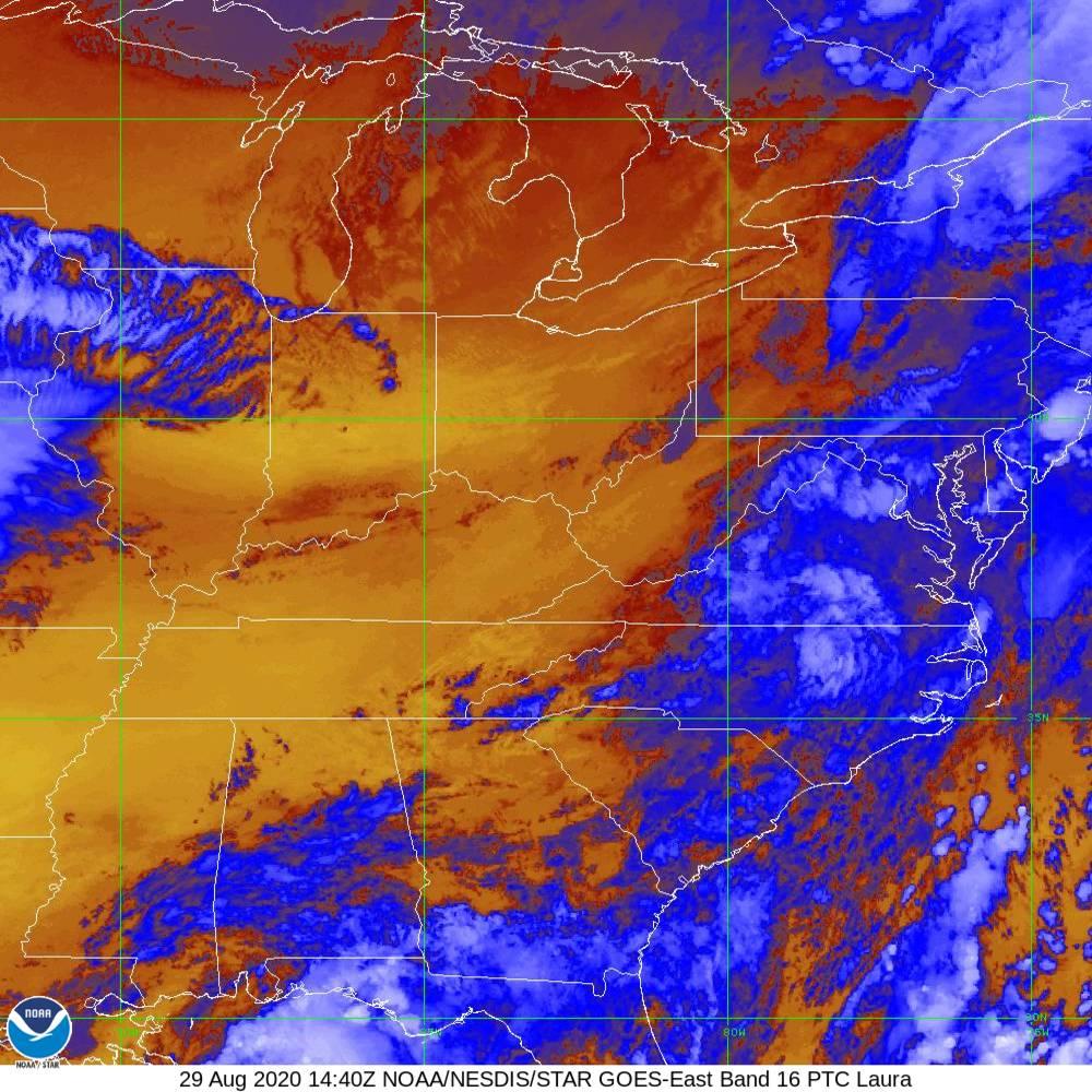 Band 16 - 13.3 µm - CO₂ Longwave - IR - 29 Aug 2020 - 1440 UTC