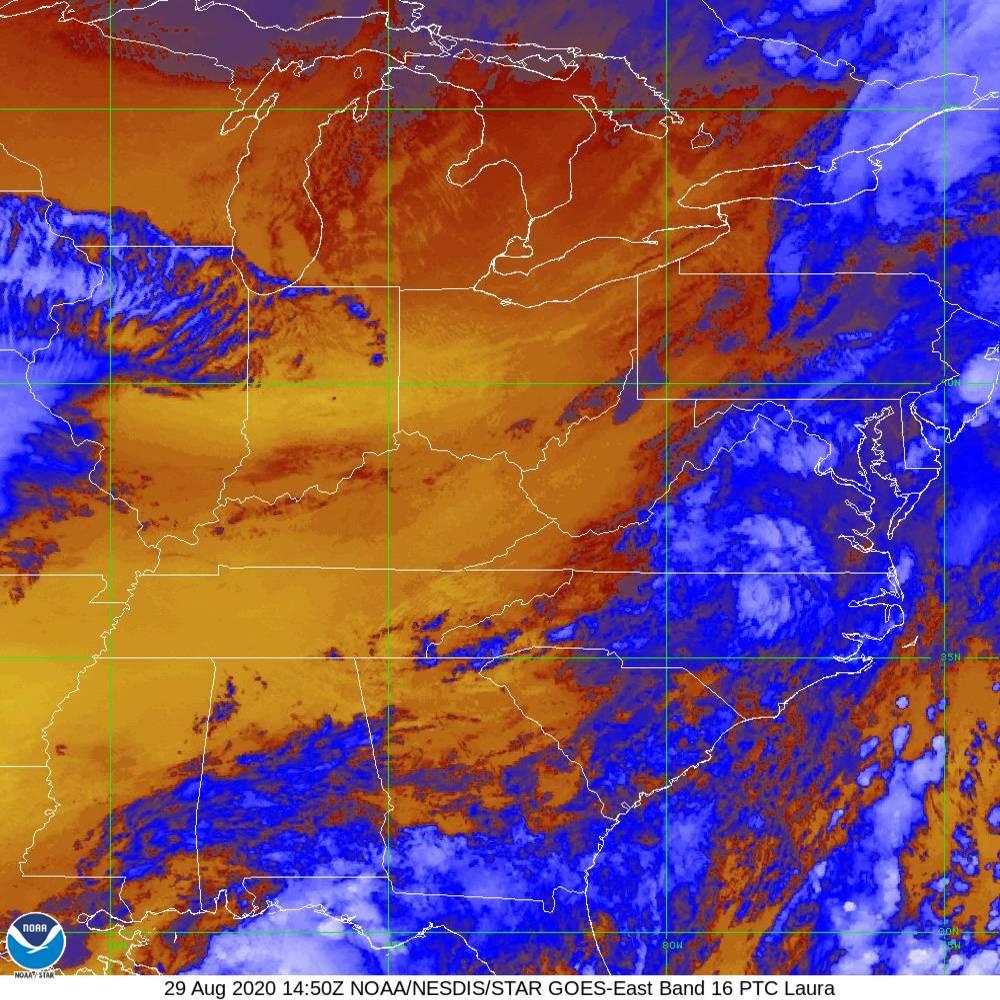 Band 16 - 13.3 µm - CO₂ Longwave - IR - 29 Aug 2020 - 1450 UTC
