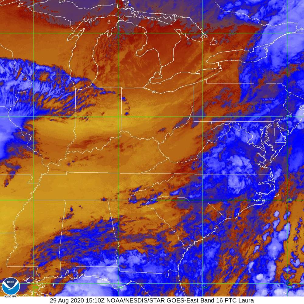 Band 16 - 13.3 µm - CO₂ Longwave - IR - 29 Aug 2020 - 1510 UTC