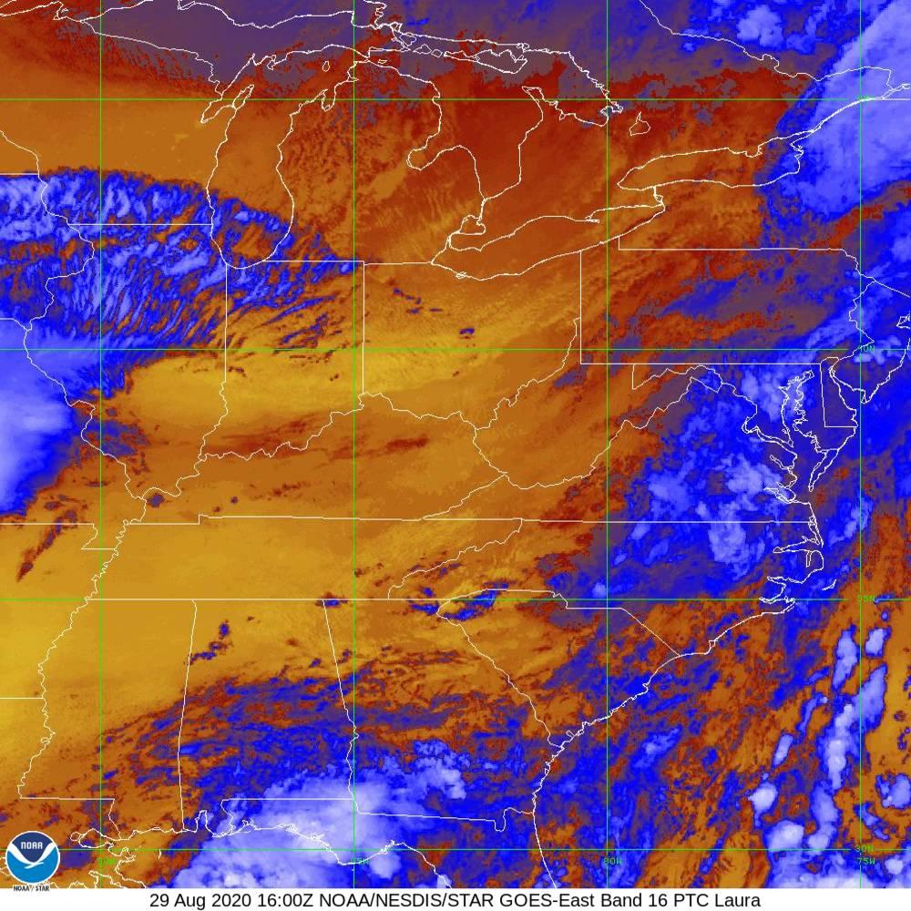Band 16 - 13.3 µm - CO₂ Longwave - IR - 29 Aug 2020 - 1600 UTC