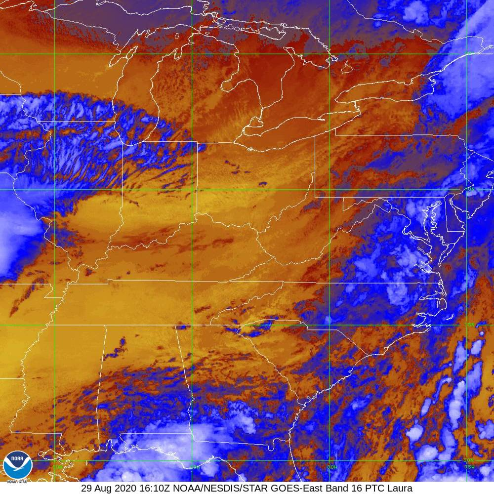 Band 16 - 13.3 µm - CO₂ Longwave - IR - 29 Aug 2020 - 1610 UTC