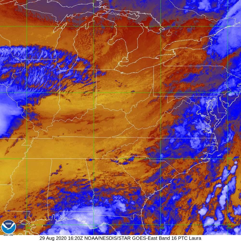 Band 16 - 13.3 µm - CO₂ Longwave - IR - 29 Aug 2020 - 1620 UTC