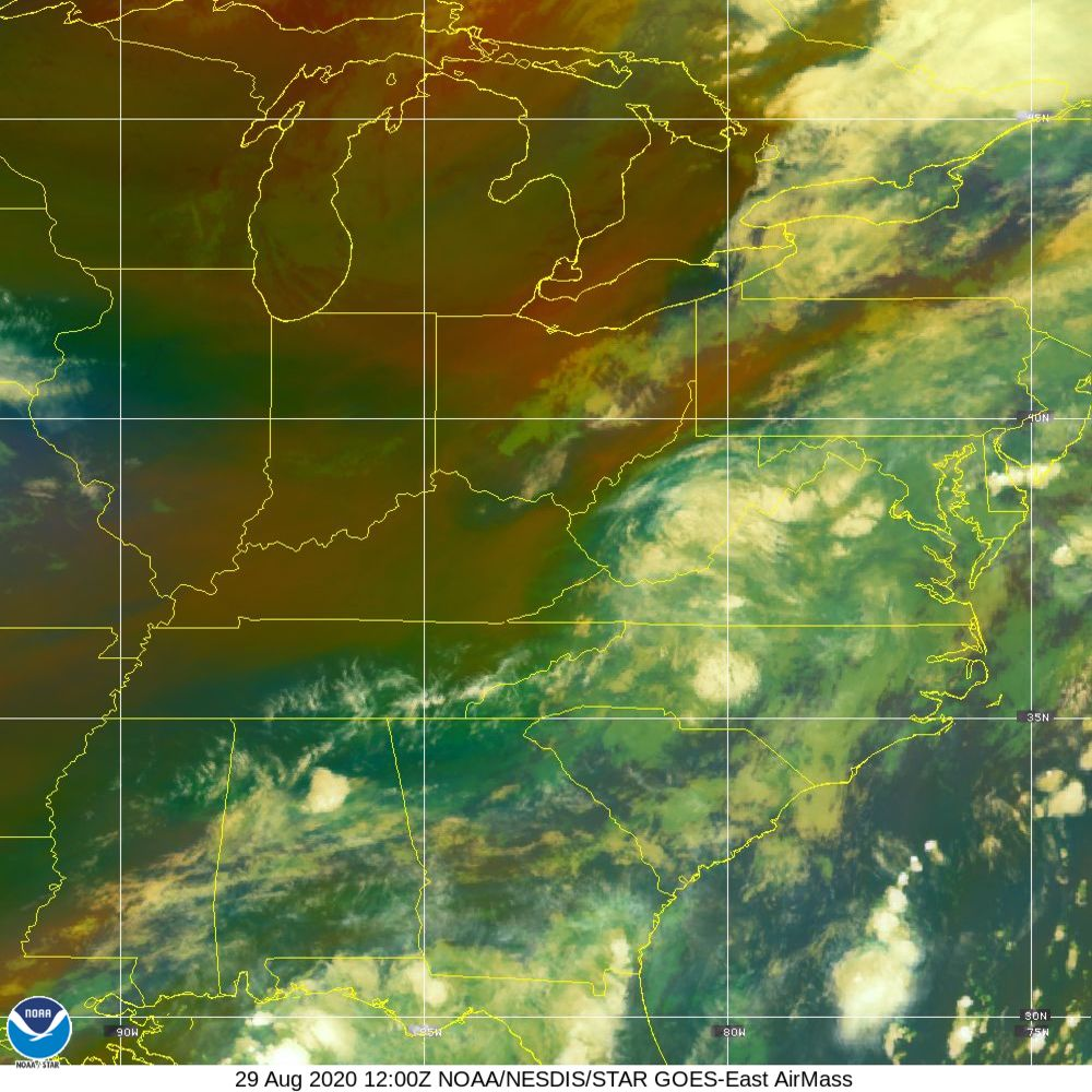 Air Mass - RGB composite based on the data from IR and WV - 29 Aug 2020 - 1200 UTC