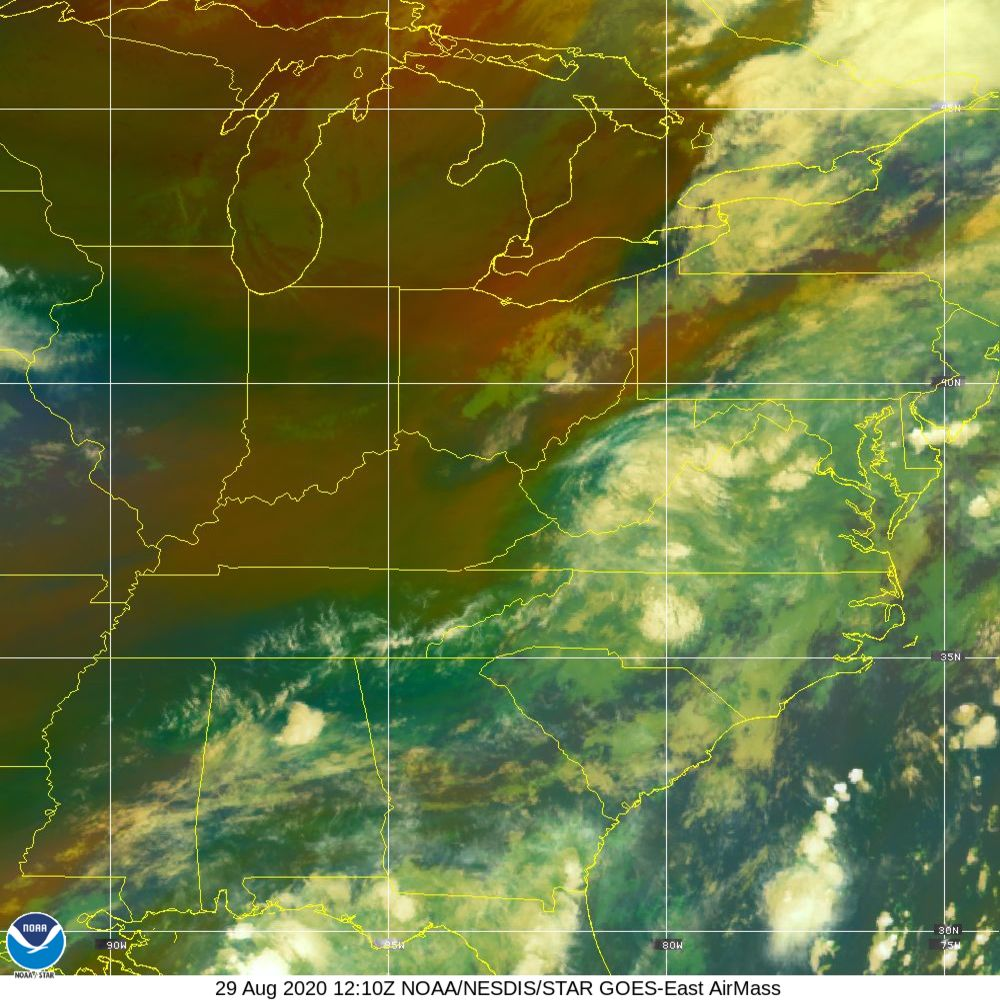 Air Mass - RGB composite based on the data from IR and WV - 29 Aug 2020 - 1210 UTC