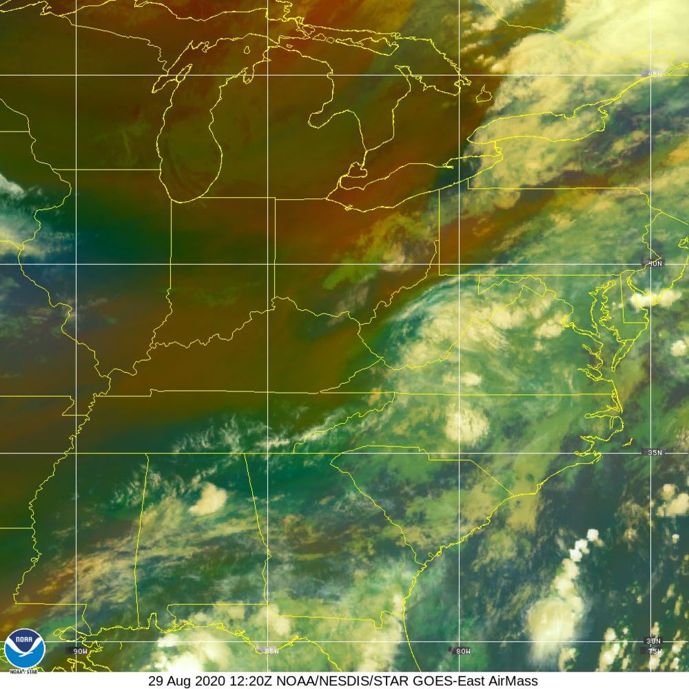 Air Mass - RGB composite based on the data from IR and WV - 29 Aug 2020 - 1220 UTC