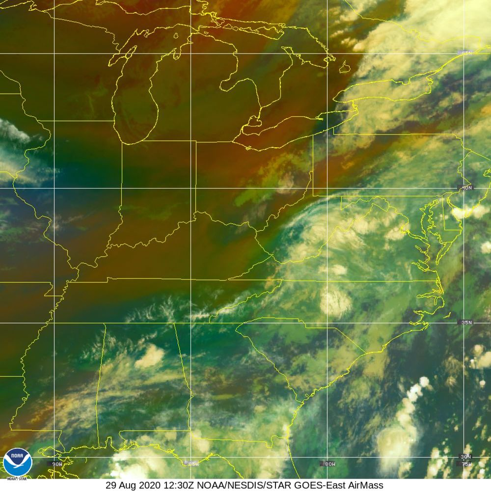Air Mass - RGB composite based on the data from IR and WV - 29 Aug 2020 - 1230 UTC