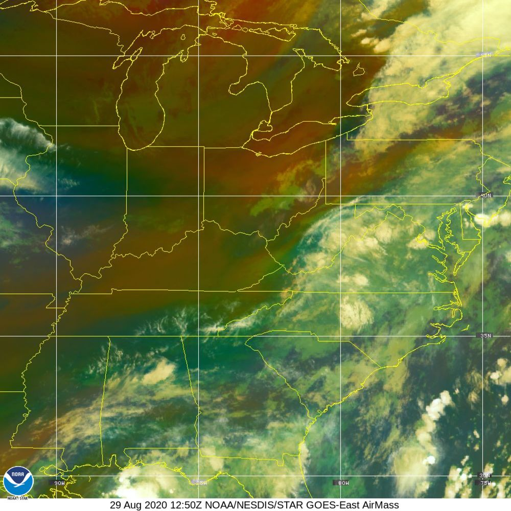 Air Mass - RGB composite based on the data from IR and WV - 29 Aug 2020 - 1250 UTC