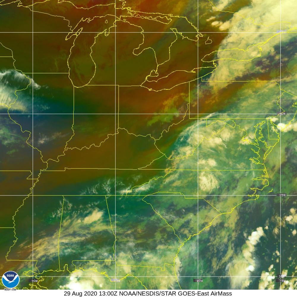 Air Mass - RGB composite based on the data from IR and WV - 29 Aug 2020 - 1300 UTC
