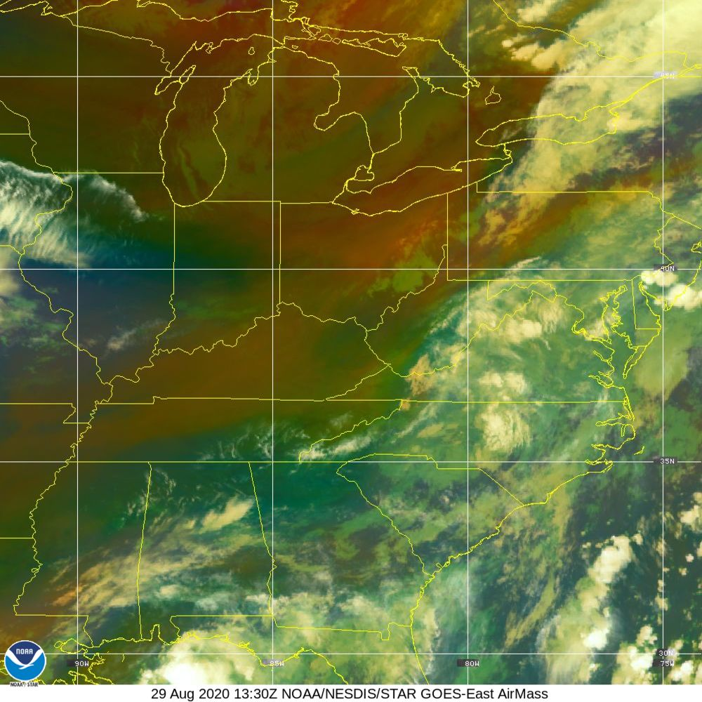 Air Mass - RGB composite based on the data from IR and WV - 29 Aug 2020 - 1330 UTC