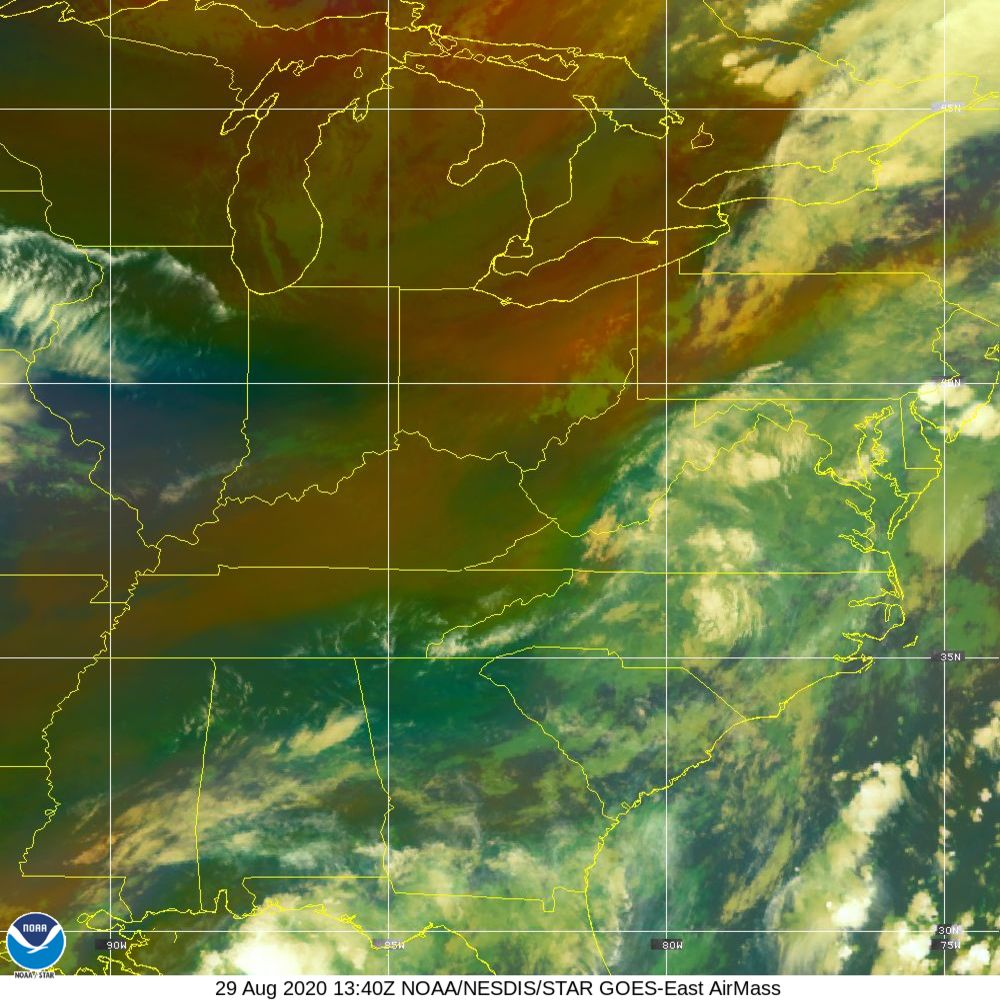 Air Mass - RGB composite based on the data from IR and WV - 29 Aug 2020 - 1340 UTC