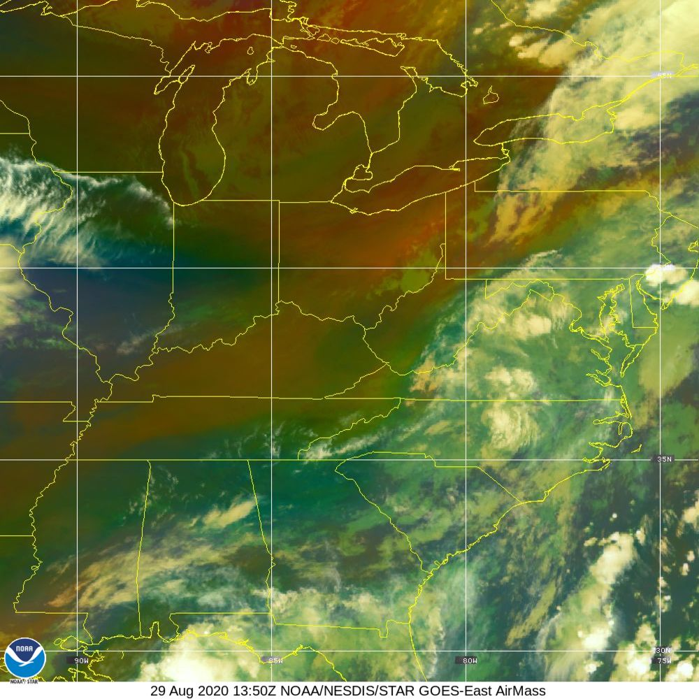 Air Mass - RGB composite based on the data from IR and WV - 29 Aug 2020 - 1350 UTC