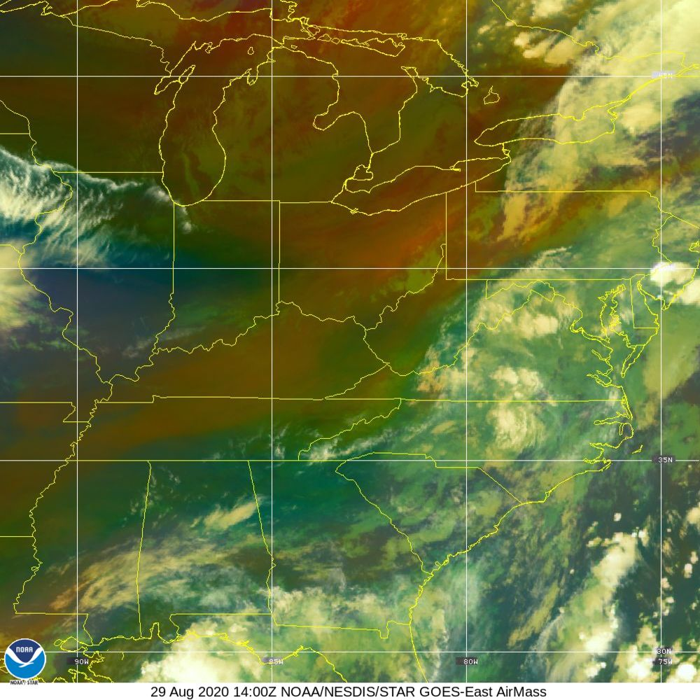 Air Mass - RGB composite based on the data from IR and WV - 29 Aug 2020 - 1400 UTC