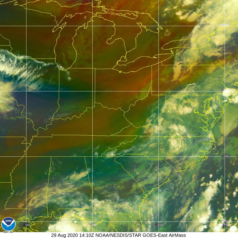 Air Mass - RGB composite based on the data from IR and WV - 29 Aug 2020 - 1410 UTC