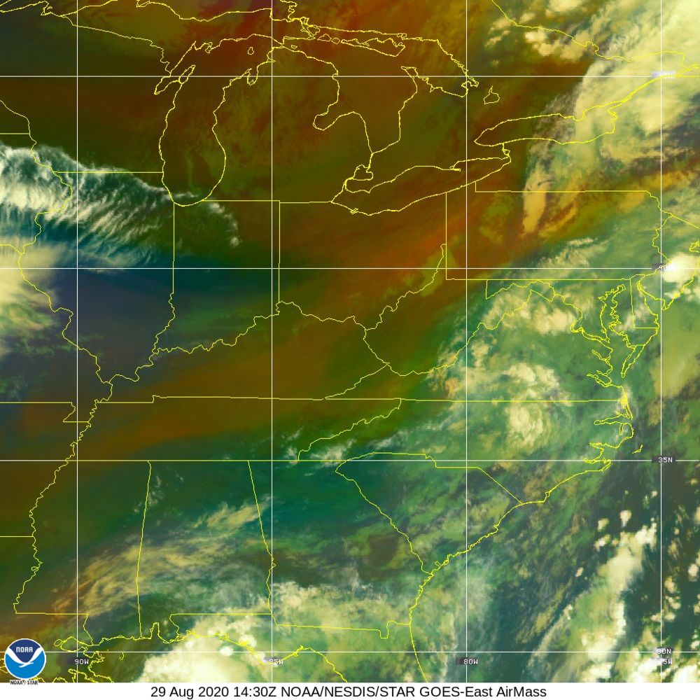 Air Mass - RGB composite based on the data from IR and WV - 29 Aug 2020 - 1430 UTC